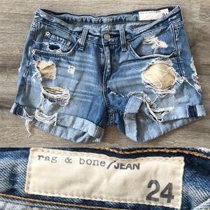 Rag & Bone Women's Distressed Jean Shorts Size 24